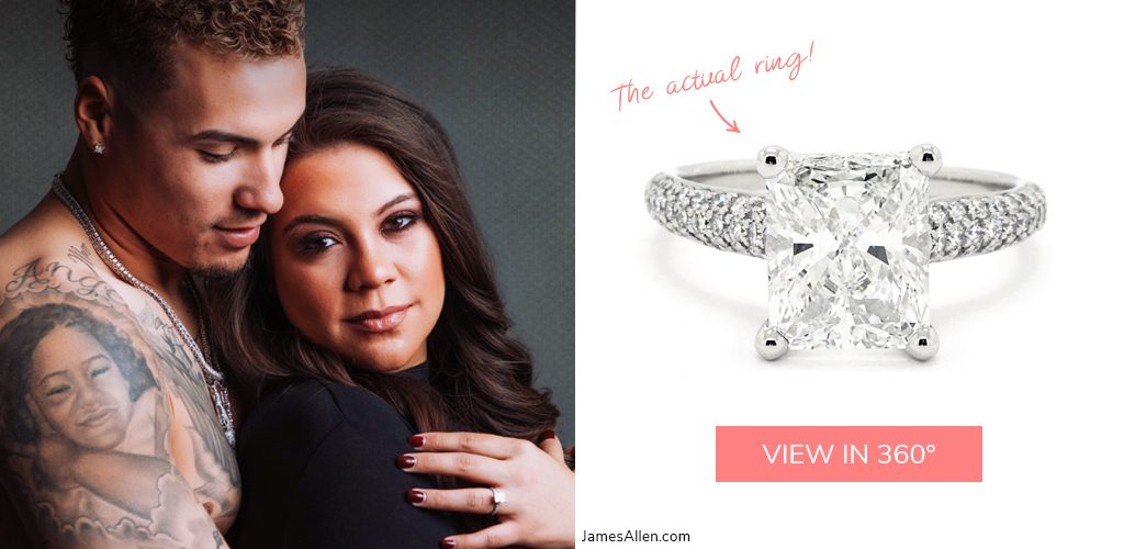 Javier Baez Irmarie Marquez triple pave radiant engagement ring