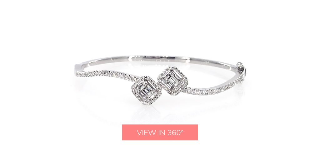 baguette diamond jewelry wave bangle bracelet