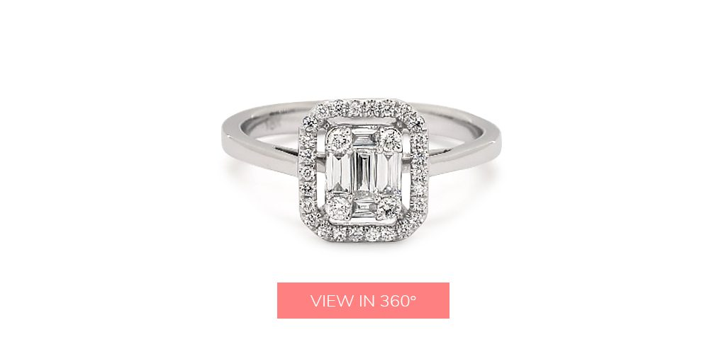 baguette diamond rings illusion halo