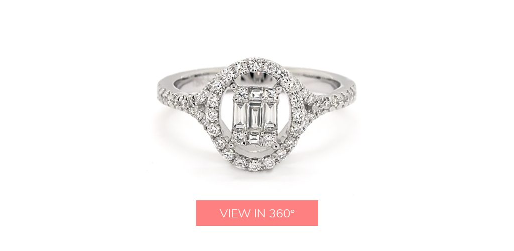baguette diamond rings illusion oval halo