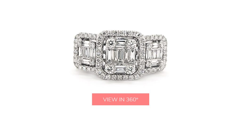 baguette diamond rings three stone halo