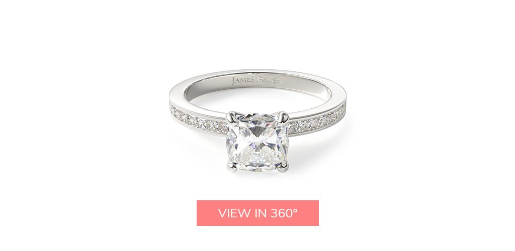 channel set platinum engagement ring