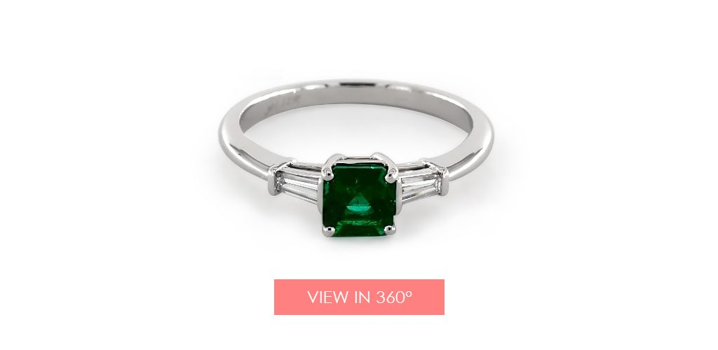 emerald may birthstone engagement ring baguette diamond