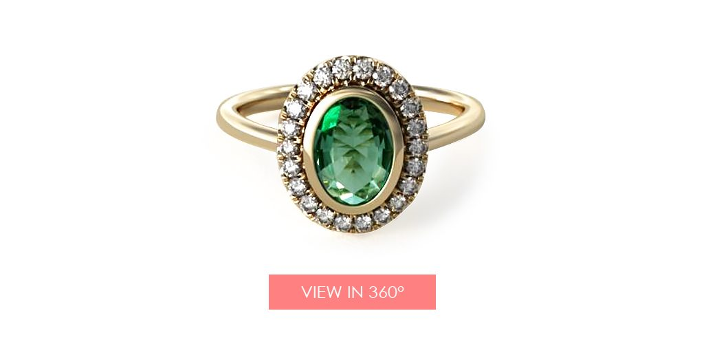 emerald may birthstone engagement ring oval halo