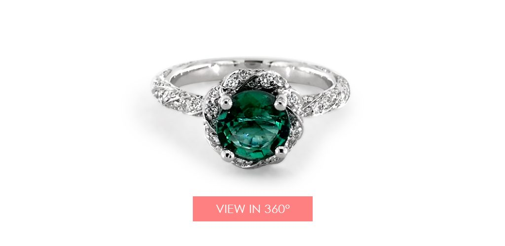 emerald may birthstone engagement ring pave twist
