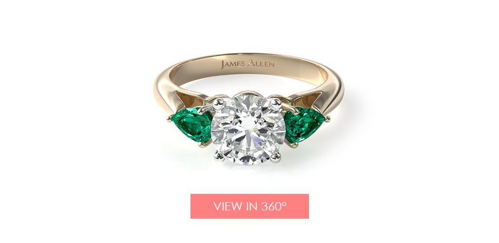 emerald may birthstone engagement ring pear