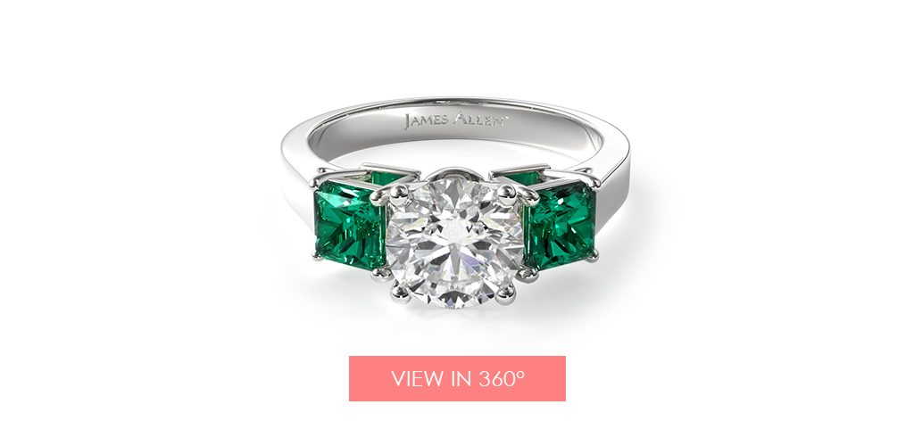 emerald may birthstone engagement ring princess square