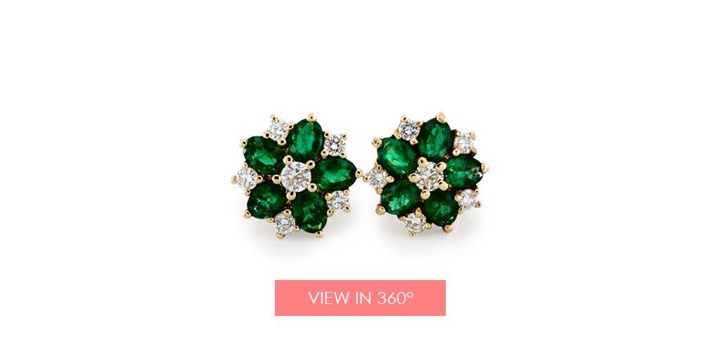 emerald may birthstone gift flower earrings