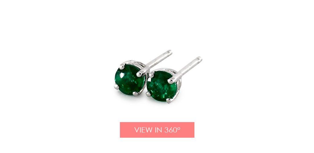 emerald may birthstone gift stud earrings