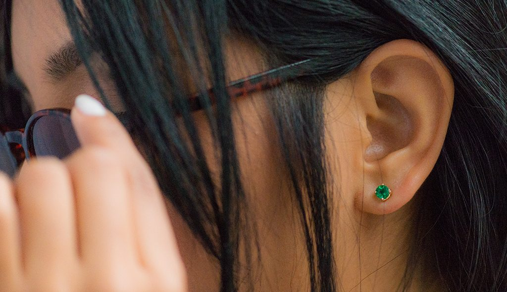 emerald may birthstone gift stud earrings gold