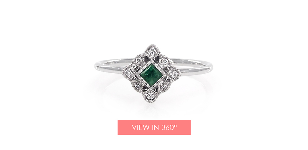emerald may birthstone gift vintage ring