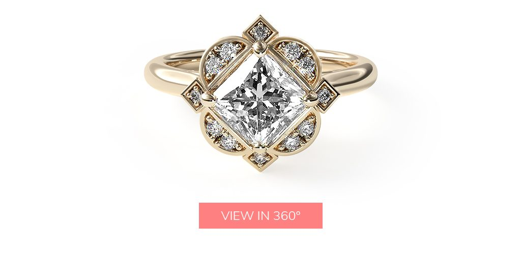 14K Yellow Gold Art Deco Inspired Floral Halo Engagement Ring