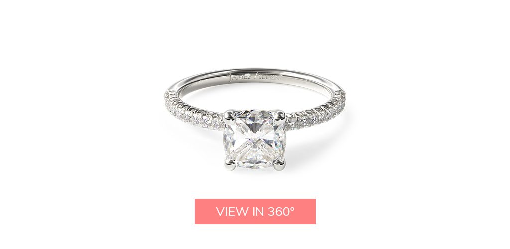 pave flush platinum engagement ring