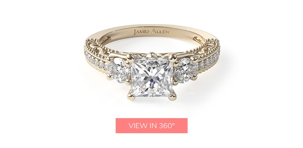 14K Yellow Gold Floral Scroll Engagement Ring