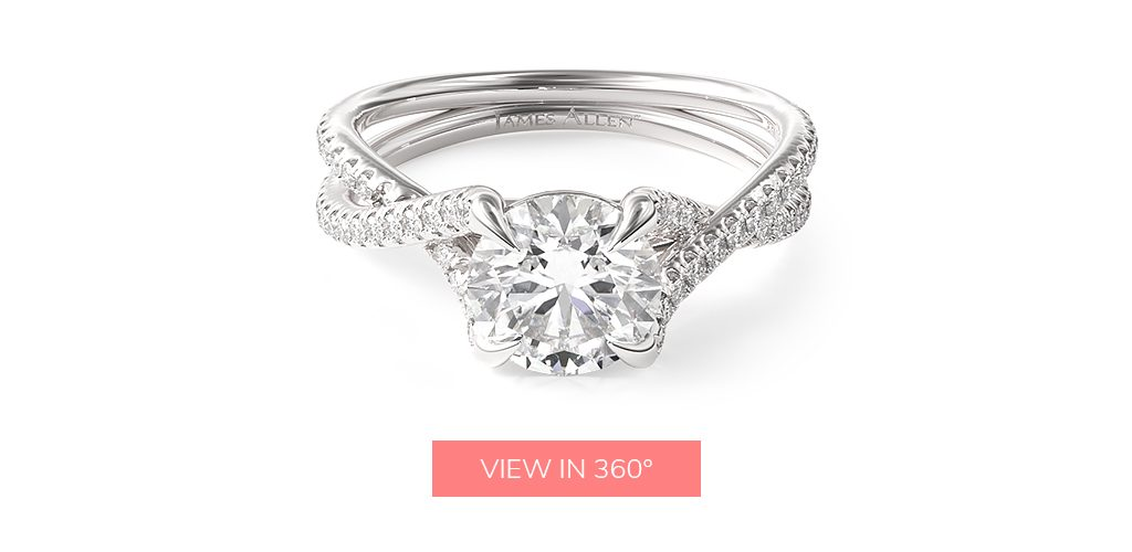 14K White Gold Twin Pavé Cross Over Diamond Engagement Ring
