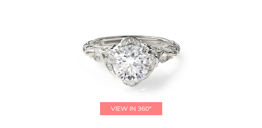 virtual engagement ring try-on diamond filigree engagement ring