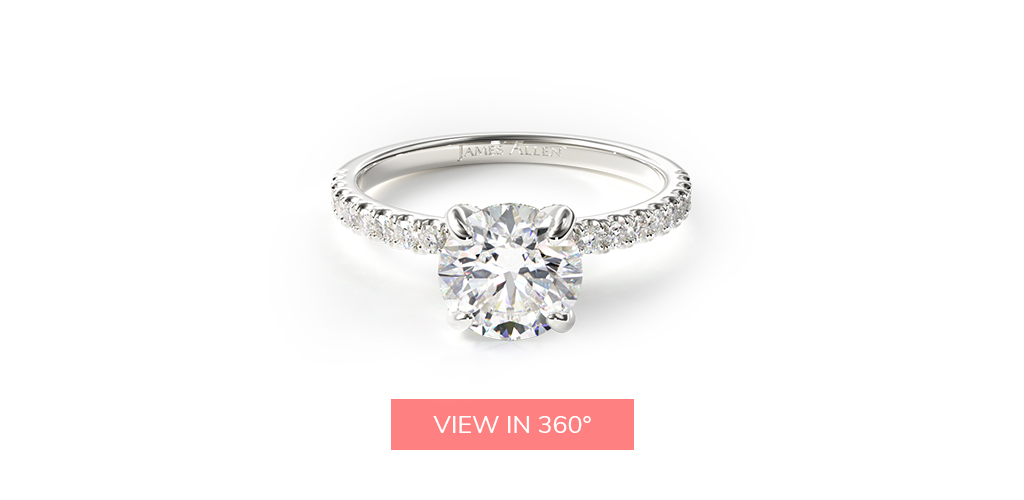 virtual engagement ring try-on petite pavé crown diamond engagement ring