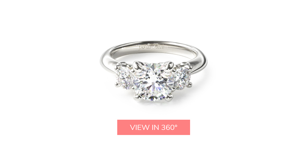 virtual engagement ring try-on three stone diamond engagement ring