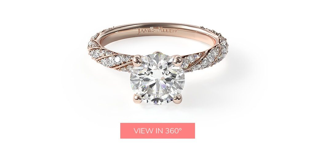 14K Rose Gold Twisted Pavé Engagement Ring