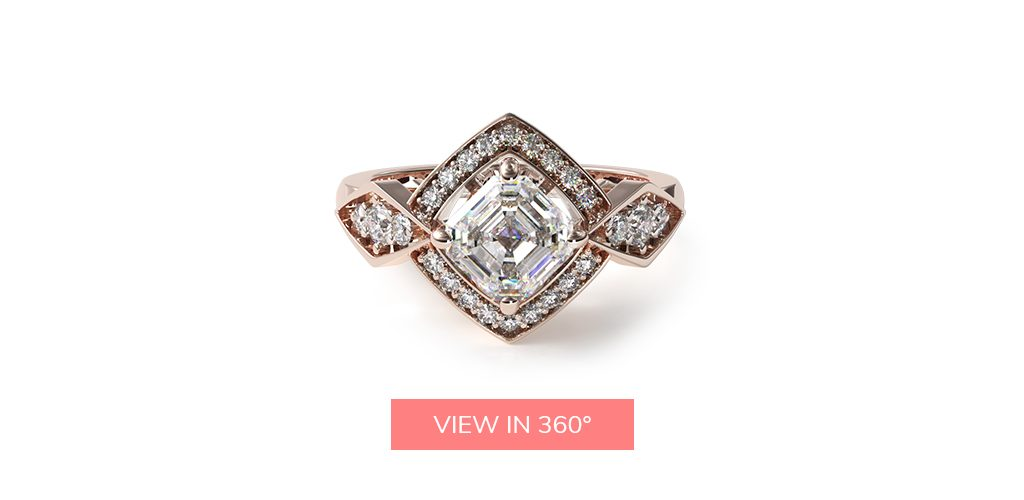 asscher cut diamonds art deco geometric unique engagement ring