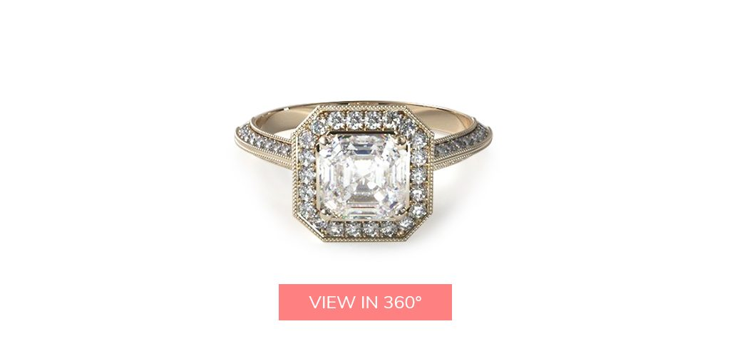 asscher cut diamonds octagon halo art deco engagement ring