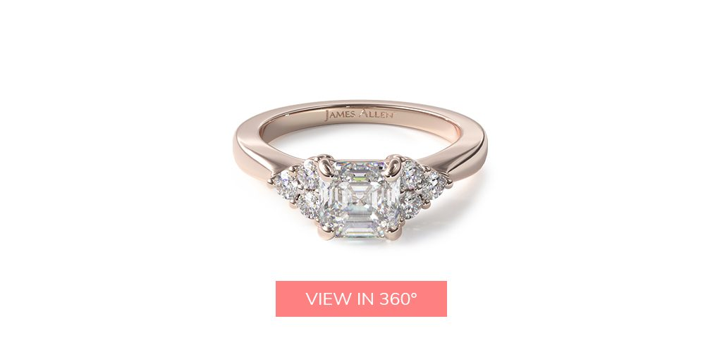asscher cut diamonds rose gold engagement ring