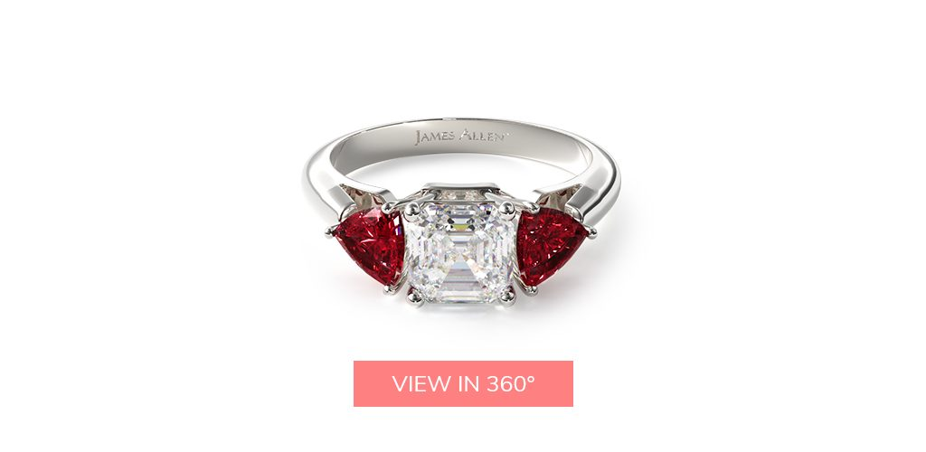 asscher cut diamonds ruby gemstone engagement ring