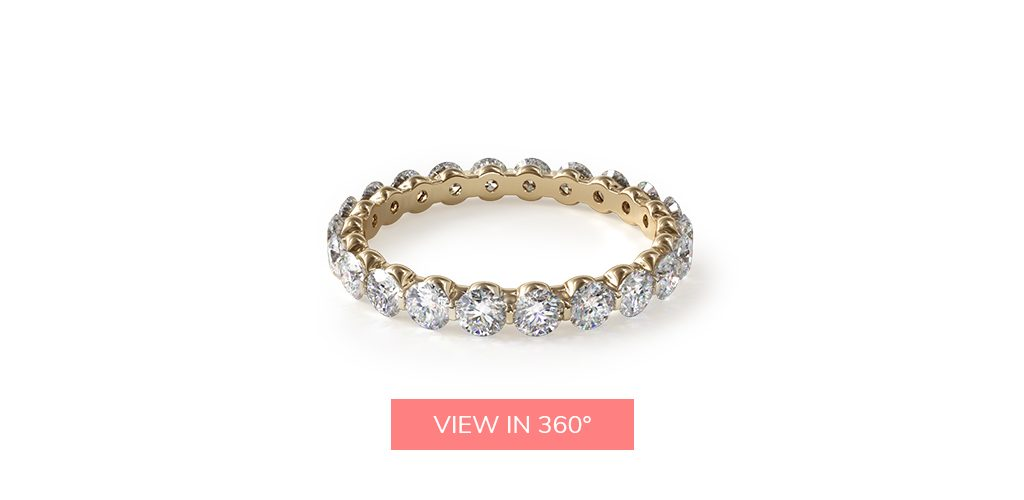 common prong yellow gold eternity rings