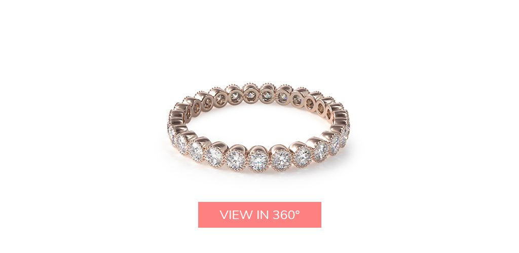 milgrain bezel rose gold eternity rings
