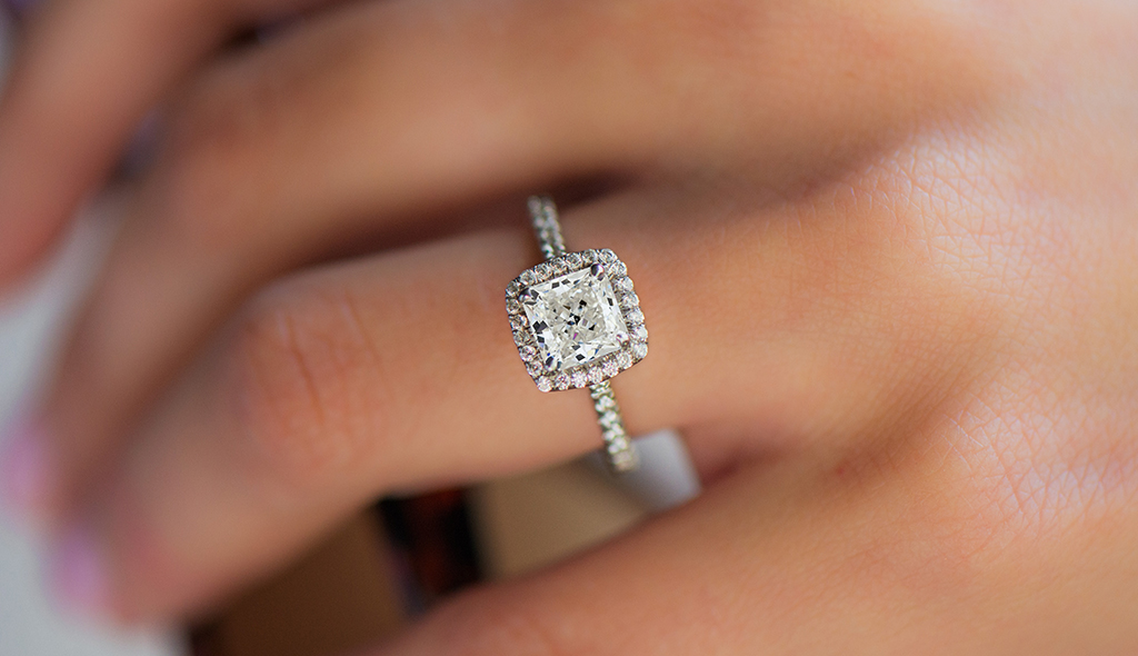 radiant cut diamonds cover pavé set engagement ring