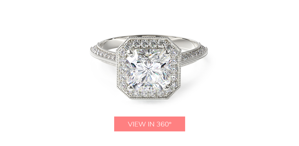 radiant cut diamonds octagon halo diamond engagement ring