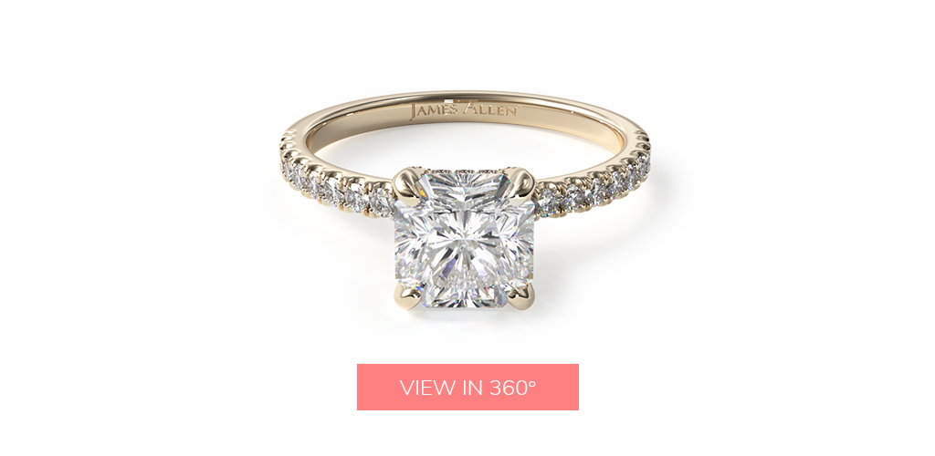 radiant cut diamonds petite pavé crown diamond engagement ring