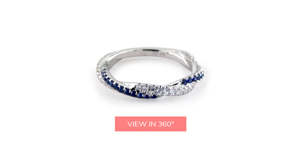 royal wedding sapphire diamond rope style wedding ring