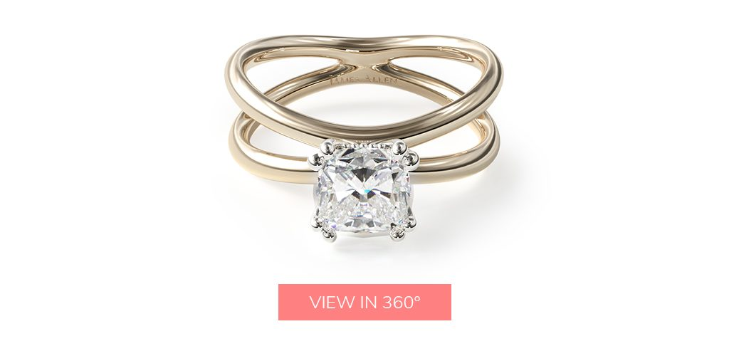 14K Yellow Gold Criss Cross Diamond Solitaire