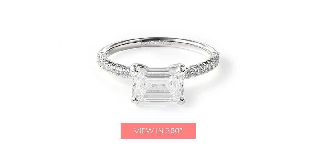 14K White Gold East-West Petite Pave Engagement Ring
