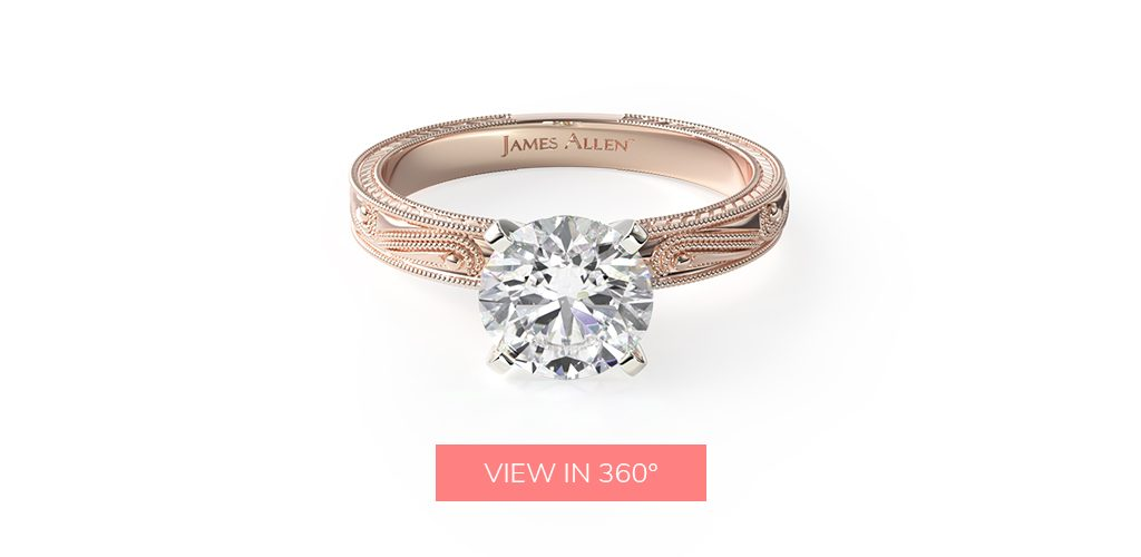14K Rose Gold Engraved Solitaire Engagement Ring