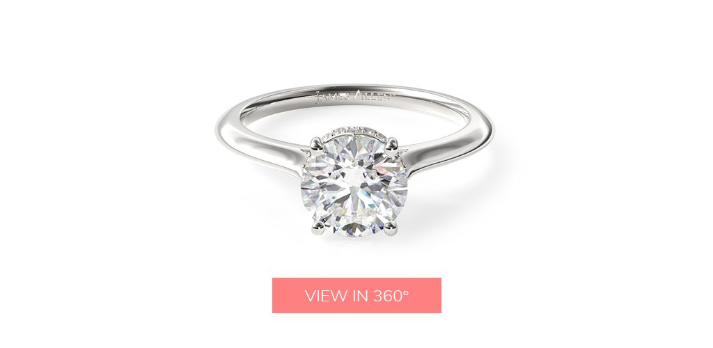 14K White Gold Pavé Adorned Cathedral Engagement Ring