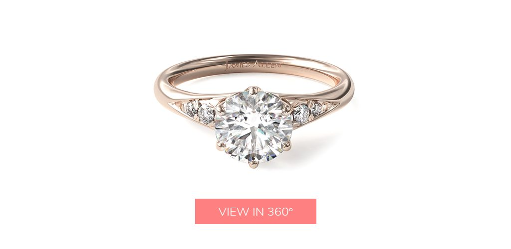 affordable engagement rings side stone tapered