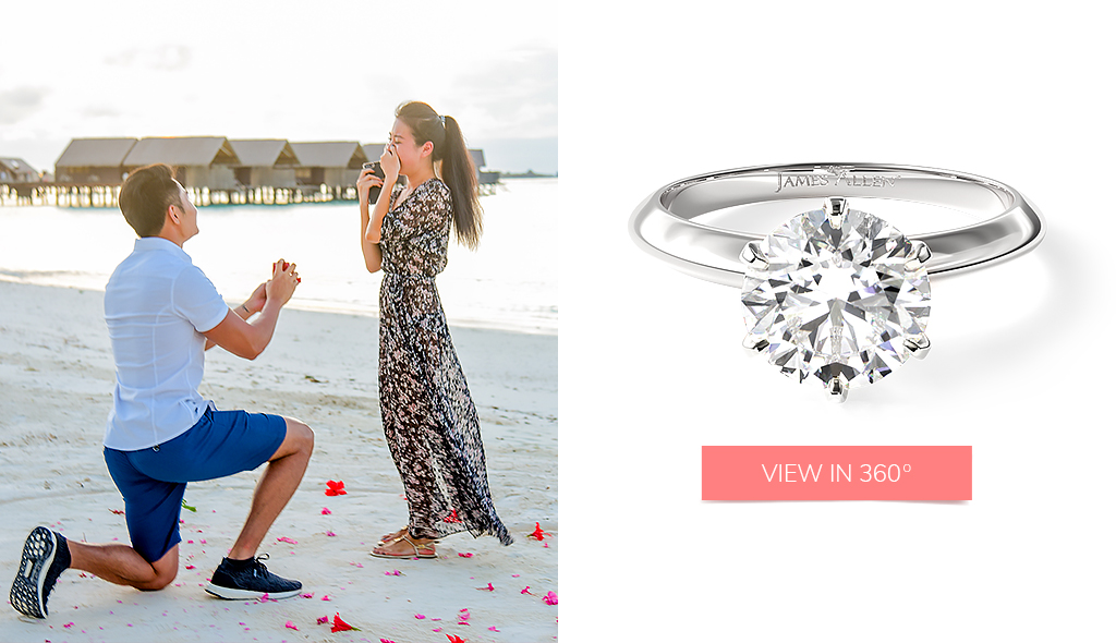 beach proposal stories six prong knife edged solitaire engagement ring