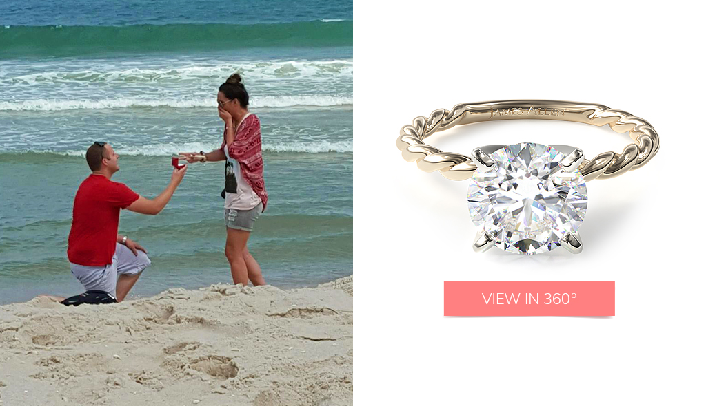 18K Yellow Gold Cable Solitaire Engagement Ring