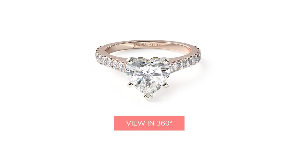 heart shaped diamonds common prong pave engagement ring