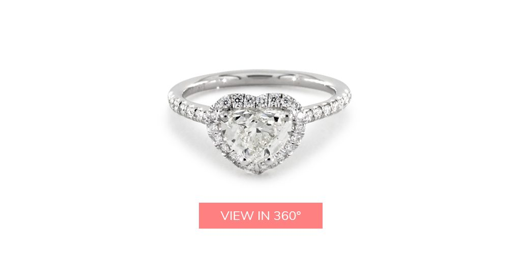 heart shaped diamonds pave halo engagement ring