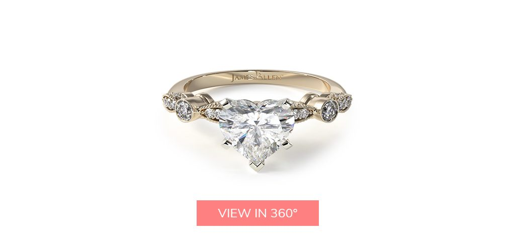 heart shaped diamonds vintage engagement ring