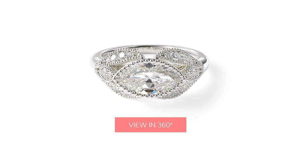 14K White Gold Beaded Marquise Shape Engagement Ring