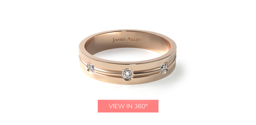 wedding rings for men rose gold etched bezel set high polished center trim diamond eternity ring