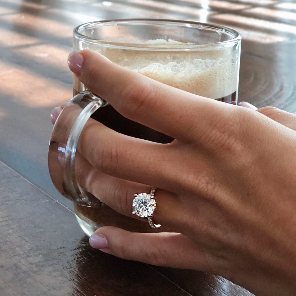 Coffee mug engagement ring selfie | Yellow Gold Petite Pavé Crown Diamond Engagement Ring
