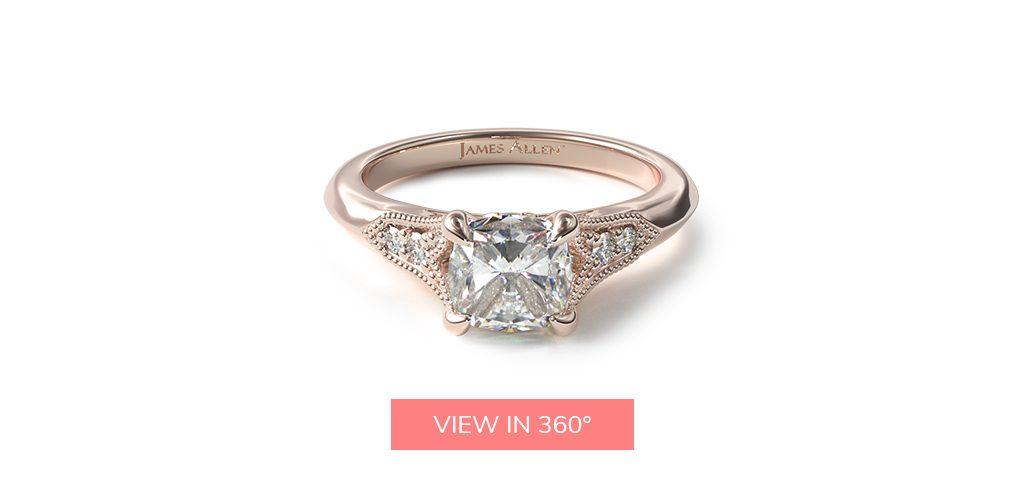 14K Rose Gold Art Deco Inspired Fleur-De-Lis Pavé Engagement Ring