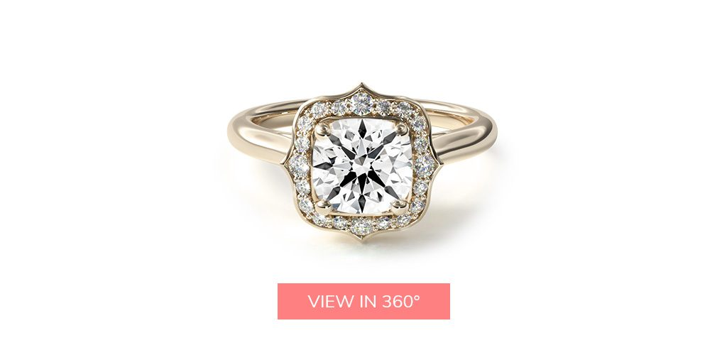 14K Yellow Gold Vintage Inspired Antique Frame Halo Engagement Ring