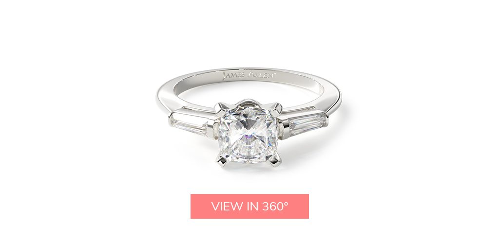 cushion cut diamonds baguette side stone engagement ring