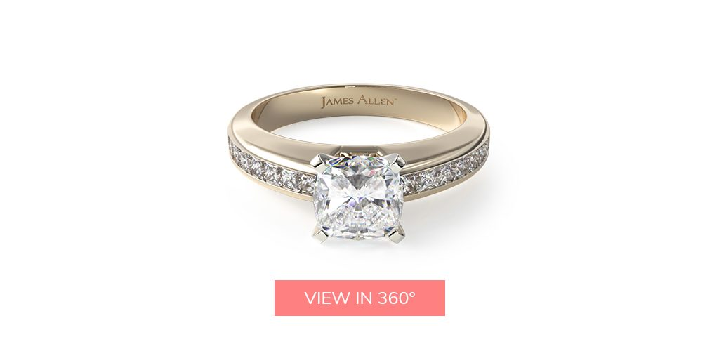 cushion cut diamonds channel set engagement ring